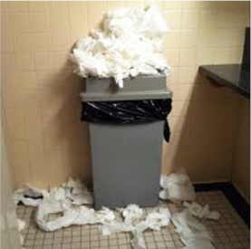 trash full of paper towels